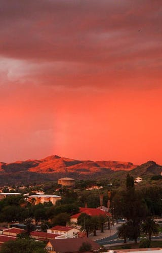 Aerial View City Red Sky Windhoek Namibia Timbuktu Travel