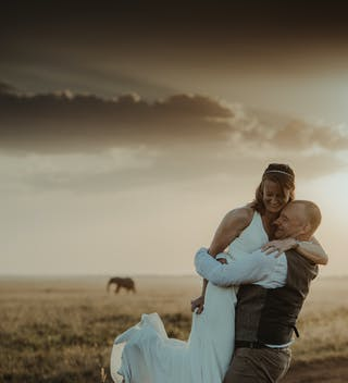 Wedding Couple in the savanna with Elephant (credit - Cheka Photography)