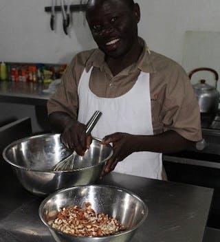 Dickson Cooks Pecan Pie At  Kuthengo