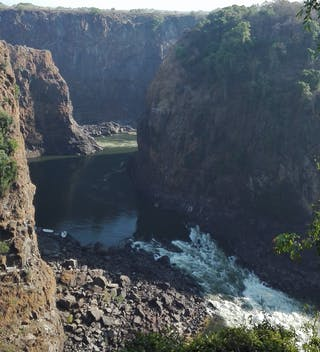 Dry Victoria Falls From The Bridge In October