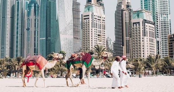 Dubai Beach And Skyline