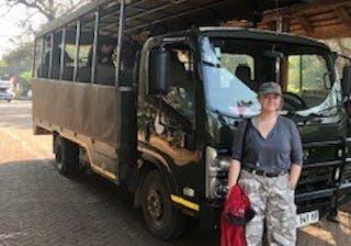 Emily With The Safari Vehicle