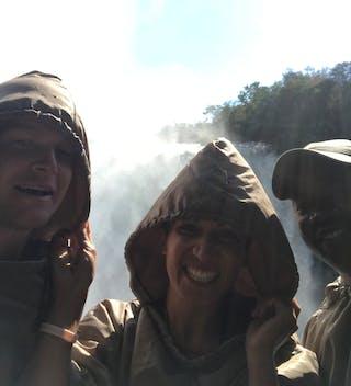 Enjoying The Spray At Victoria Falls