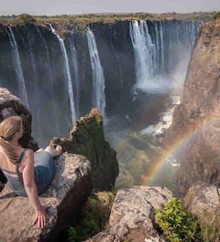Enjoying The View At Victoria Falls Comp