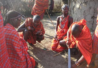 Maasai With Their Weapons