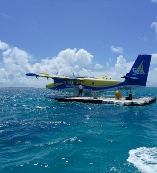 Maldives Seaplane Arrival Jetty Near A Resort