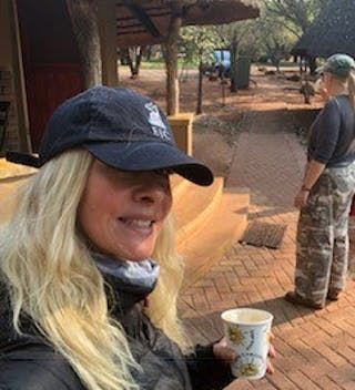 Morning Coffee Outside Our Mud Hut