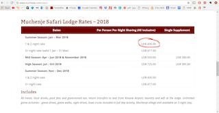 Muchenje Safari Lodge Rack Rates Screen Capture