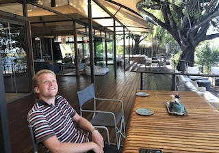 Relaxing On Deck At Thorntree River Lodge At Livingstone Near Victoria Falls