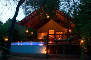 Selous Riverside Camp Tent By Night