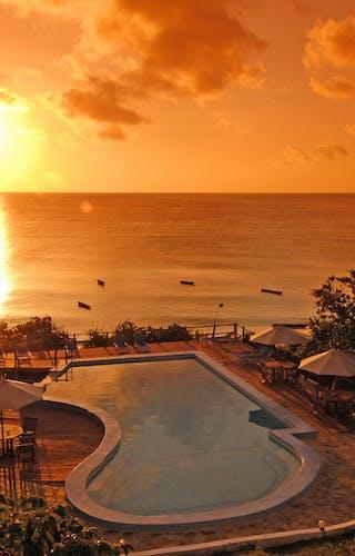 The Manta Resort Pool At Sunset