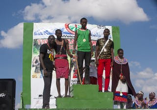 The Winners Podium At The Maasai Olympics