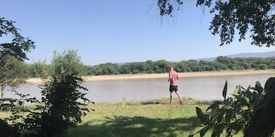 Walking along the banks of the Luangwa River at Munyamadzi Game Reserve