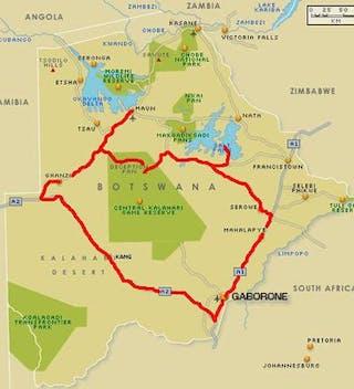 Self Drive Map Botswana