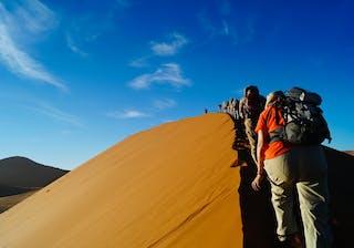 Namibia Sossusvlei Walking On Sand