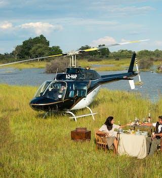 Helicopter Flight In  Okavango  Delta
