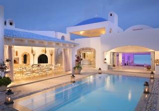 Villa Santorini Pool At Sunset